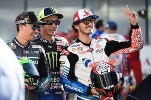 Франко Морбиделли, Petronas Yamaha SRT, Валентино Росси, Yamaha Factory Racing, и Франческо Баньяя, Alma Pramac Racing