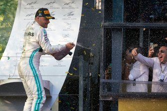 Valtteri Bottas, Mercedes AMG F1, 1st position, sprays the victory Champagne