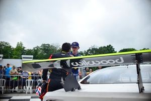 Rafael Matos confronts Matt Tifft after the TA2 race at Road America