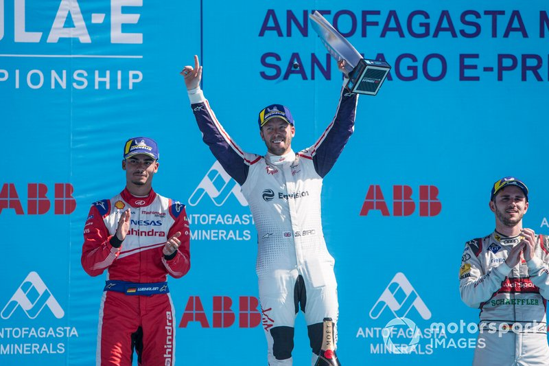 Winner Sam Bird, Envision Virgin Racing celebrates victory on the podium with Pascal Wehrlein, Mahindra Racing, 2nd position, Daniel Abt, Audi Sport ABT Schaeffler, 3rd position.