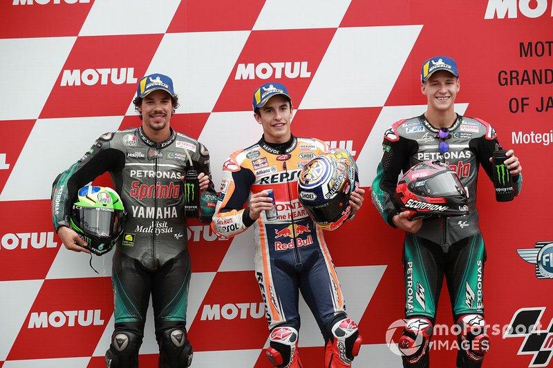 Il poleman Marc Marquez, Repsol Honda Team, il secondo qualificato Franco Morbidelli, Petronas Yamaha SRT, il terzo quaificato Fabio Quartararo, Petronas Yamaha SRT