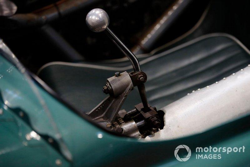 The gear stick on a vintage Aston Martin race car