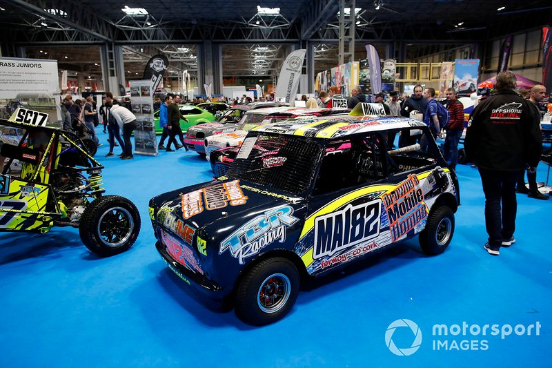 A car on display at the Autosport show