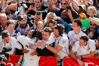 Lewis Hamilton, Mercedes AMG F1, celebrates winning his sixth world championship in parc ferme