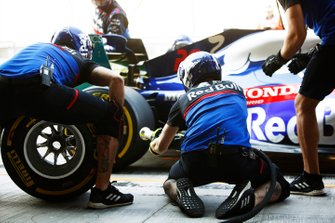 The Toro Rosso team make a pit stop