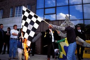 Environmental protest outside the offices of FOCA, London about the Australian GP in Albert Park