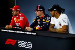 Sebastian Vettel, Ferrari, Pole Sitter Sebastian Vettel, Ferrari and Lewis Hamilton, Mercedes AMG F1 in the Press Conference