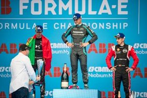 Race winner Mitch Evans, Jaguar Racing on the podium with Antonio Felix da Costa, DS Techeetah, 2nd position, Sébastien Buemi, Nissan e.Dams, 3rd position