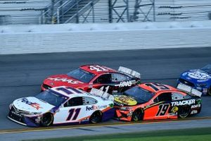 Denny Hamlin, Joe Gibbs Racing, Toyota Camry FedEx Express, Martin Truex Jr., Joe Gibbs Racing, Toyota Camry Bass Pro Shops, and Cole Custer, Stewart-Haas Racing, Ford Mustang Haas Automation