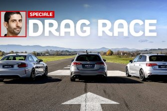 Mercedes A45 AMG, DRAG RACE contro BMW M2 Competition e Audi RS3