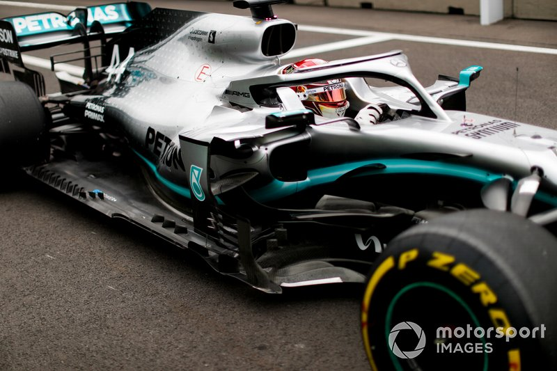 Lewis Hamilton, Mercedes AMG F1 W10, in the pit lane