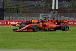 Sebastian Vettel, Ferrari SF90, on the grass