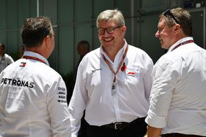 Ron Meadows, Mercedes AMG F1 Team Manager, Ross Brawn, Formula One Managing Director of Motorsports and David Croft, Sky TV Commentator