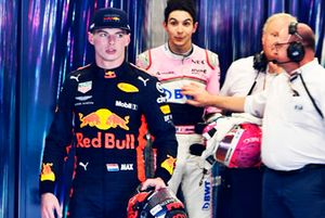 Max Verstappen, Red Bull Racing and Esteban Ocon, Racing Point Force India square up after the race following their on track crash