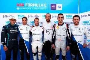 Mitch Evans, Jaguar Racing, Antonio Felix da Costa, BMW I Andretti Motorsports, Sam Bird, Envision Virgin Racing, Jean-Eric Vergne, DS TECHEETAH, Sébastien Buemi, Nissan e.Dams, Alexander Sims, BMW I Andretti Motorsports, pose for a post-qualifying picture
