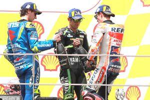 Podio: il vincitore della gara Marc Marquez, Repsol Honda Team, il secondo classificato Alex Rins, Team Suzuki MotoGP, il terzo classificato Johann Zarco, Monster Yamaha Tech 3
