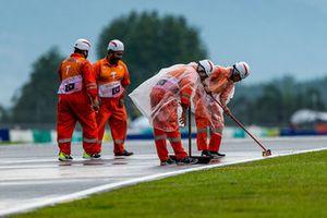 Marshalls at work under the rain