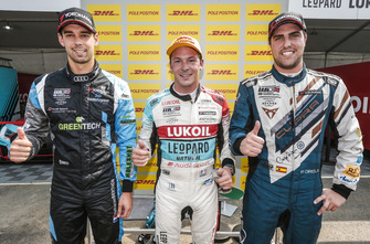 Top 3: Pole sitter Jean-Karl Vernay, Audi Sport Leopard Lukoil Team Audi RS 3 LMS, Nathanaël Berthon, Comtoyou Racing Audi RS 3 LMS, Pepe Oriola, Team Oscaro by Campos Racing Cupra TCR