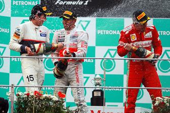 Sergio Perez, Sauber, Lewis Hamilton, McLaren, Fernando Alonso, Ferrari, spray champagne on the podium