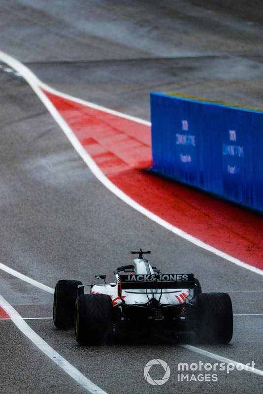 Romain Grosjean, Haas F1 Team VF-18, leaves the pit lane
