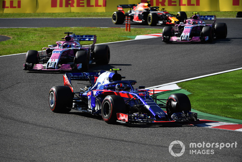 Pierre Gasly, Scuderia Toro Rosso STR13, Sergio Perez, Racing Point Force India VJM11, Esteban Ocon, Racing Point Force India VJM11 y Daniel Ricciardo, Red Bull Racing RB14
