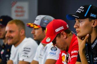 George Russell, Williams Racing, Sebastian Vettel, Ferrari, Carlos Sainz Jr., McLaren and Valtteri Bottas, Mercedes AMG F1 in Press Conference