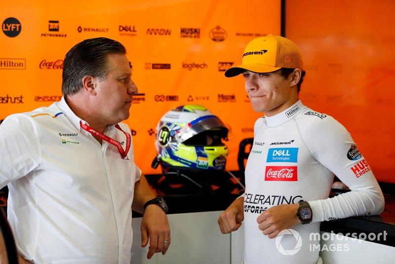 Zak Brown, Executive Director, McLaren, with Lando Norris, McLaren