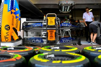 Pirelli tyres in front of McLaren MCL34 front wing and engine cover