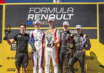 Podium: race 1 winner Lorenzo Colombo, MP motorsport, second place Oscar Piastri, R-ACE GP, third place Victor Martins, MP motorsport