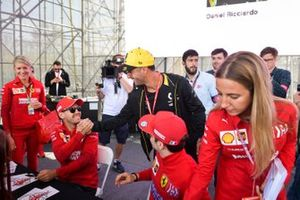 Daniel Ricciardo, Renault, Sebastian Vettel, Ferrari and Charles Leclerc, Ferrari at the driver autograph session