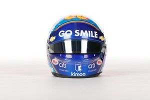 El casco de Alonso para la Indy 500 2019, con 'Go Smile' en la visera