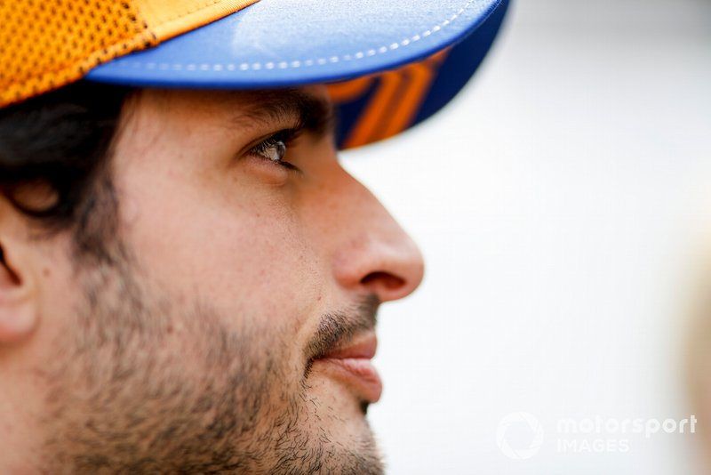Carlos Sainz Jr., McLaren speaks with the media