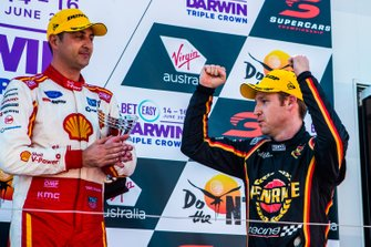 Podium: race winner Scott McLaughlin, DJR Team Penske Ford, second place David Reynolds, Erebus Motorsport Holden