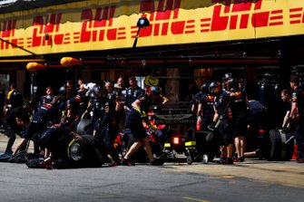 Max Verstappen, Red Bull Racing RB15, in the pits during practice