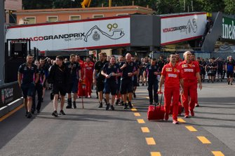 Racing Point and Ferrari team personnel