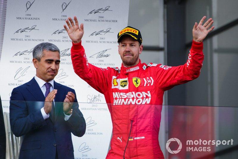 Sebastian Vettel, Ferrari, terzo, arriva sul podio