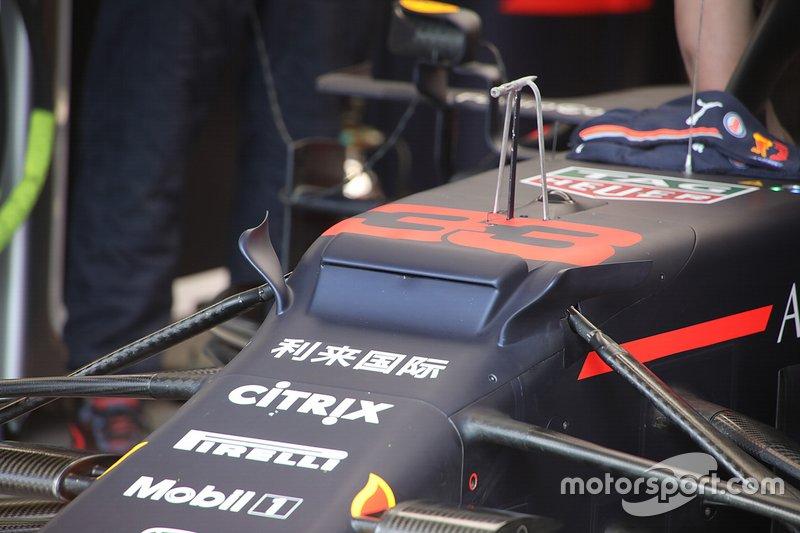 Max Verstappen, Red Bull Racing, detalle técnico frontal
