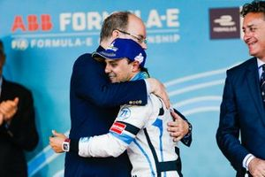 Albert II, Prince of Albert congratulates Felipe Massa, Venturi Formula E on the podium
