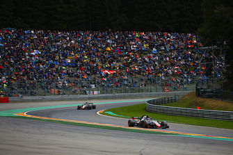 Romain Grosjean, Haas F1 Team VF-18, leads Kevin Magnussen, Haas F1 Team VF-18