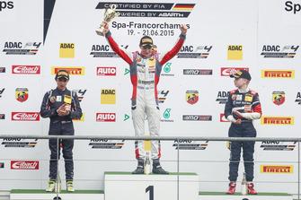 Podium: Race winner Joel Eriksson, Motopark, second place Lando Norris, Mücke Motorsport, third place Robert Shwartzman, Mücke Motorsport