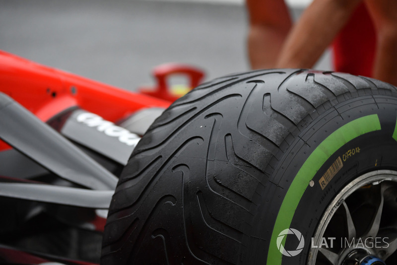 Ferrari SF71H wet weather Pirelli tyre