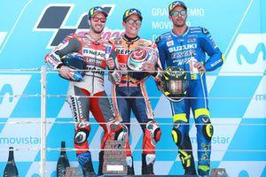 Подиум: победитель Марк Маркес, Repsol Honda Team, второе место – Андреа Довициозо, Ducati Team, третье место – Андреа Янноне, Team Suzuki MotoGP