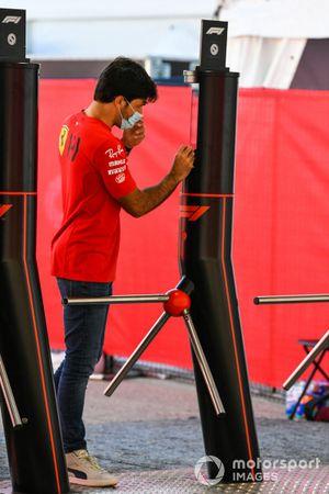 Carlos Sainz Jr., Ferrari, enters the paddock