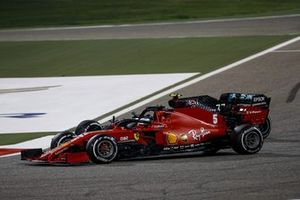 Sebastian Vettel, Ferrari SF1000, battles with Valtteri Bottas, Mercedes F1 W11