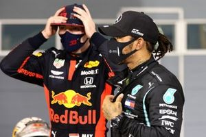 Max Verstappen, Red Bull Racing, 2nd position, and Lewis Hamilton, Mercedes-AMG F1, 1st position