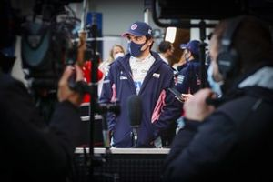 Pole man Lance Stroll, Racing Point, is interviewed after Qualifying