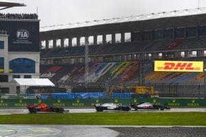 Romain Grosjean, Haas VF-20, Nicholas Latifi, Williams FW43, and Alex Albon, Red Bull Racing RB16