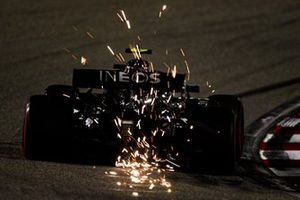 Sparks fly from Valtteri Bottas, Mercedes F1 W11