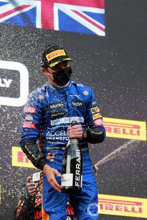 Lando Norris, McLaren, 3rd position, sprays Champagne