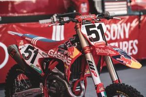De GasGas-machine van Justin Barcia, Troy Lee Designs Red Bull GasGas Factory Racing, met airshocks